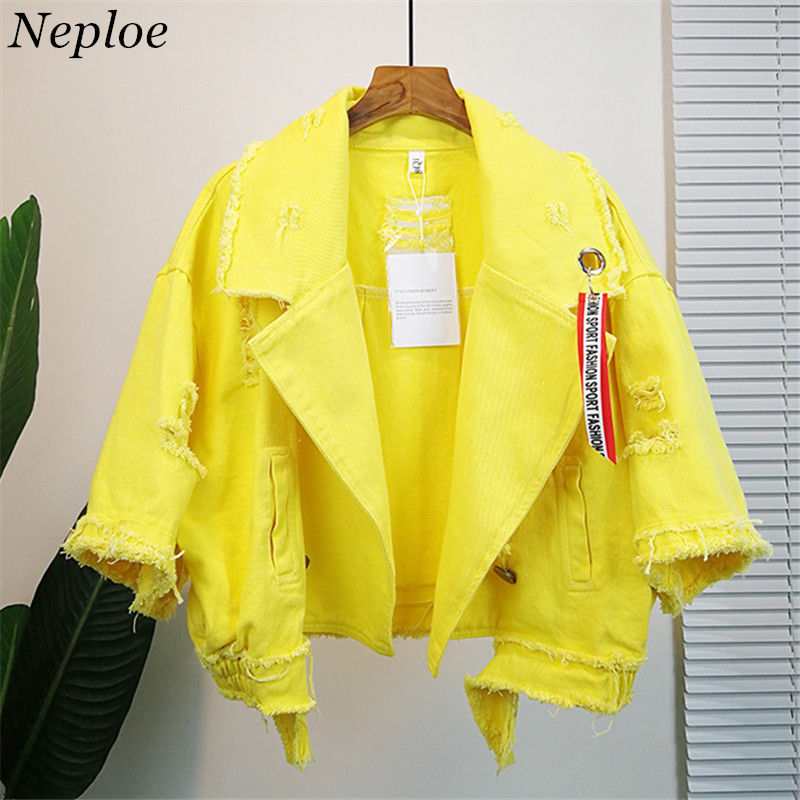 Neploe Pockets Women Denim Jacket Pole Female Loose Coat 2019 Autumn Winter New Cool Girl Outwear 69201(China)