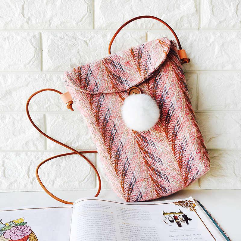 WOONAM Nieuwe Artistieke Meisjes Lady Mini multi-color Tweed Handgemaakte Satchel Cross-body Telefoon Tas WB476