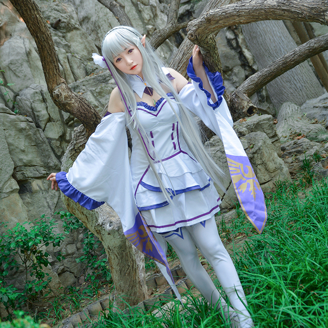 Emilia Costume Re:Life In A Different World From Zero Character Suit Cosplay Theme Carnival Costume Fancy Party Dress with Wig
