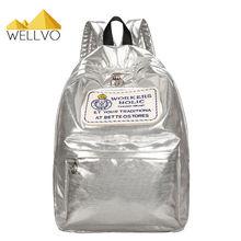 Голографическая рюкзак женские Серебристые блестящие bagpacks девочек-подростков Школьные ранцы голограмма глянцевой кожи Студенты Рюкзак XA1955C