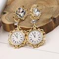 Europe and the United States  Baroque crystal fashion exaggerated large earrings cute time watches jewelry earrings   1362