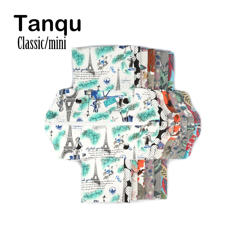 TANQU Mini Clássico Tecido de Lona Zip Top Rua Falso Inserção Revestimento Interno para O Saco Obag Mini Padrão das Mulheres bolsa Acessório