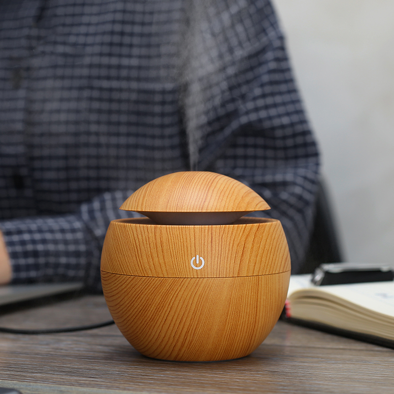 KBAYBO Mini Wooden Aromatherapy Humidifier Aroma Diffuser Essential Oil Diffuser Air Purifier Color Changing LED Touch Switch in Humidifiers from Home Appliances