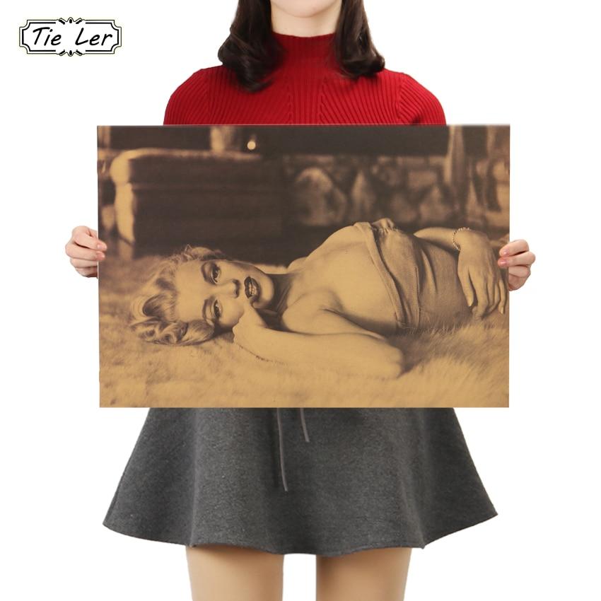 TIE LER Marilyn Monroe Goddess Kraft Paper Bar Poster Retro Poster Decorative Painting Wall Sticker 50.5x35cm