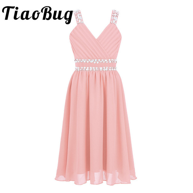 Tiaobug Flower Girls Princess Dress Kids Shoulder Straps Shiny Sequins Rhinestones Chiffon Tulle Dress For Party Formal Occasion