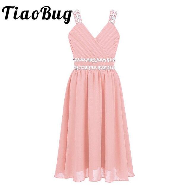 Tiaobug פרח בנות נסיכת שמלת ילדי כתף רצועות מבריק פאייטים Rhinestones שיפון טול שמלת עבור מסיבת אירוע רשמי