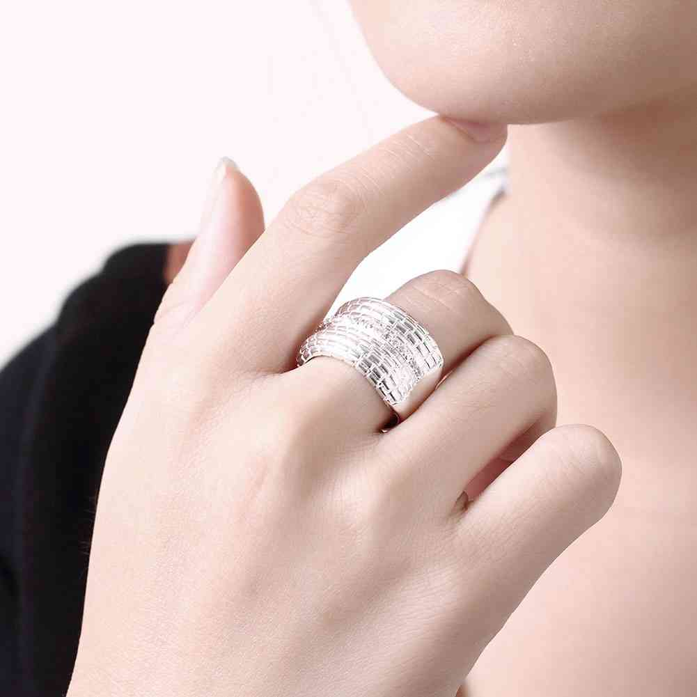 New Sale silver plated rings for men Multilayer lines Zircon thumb ...