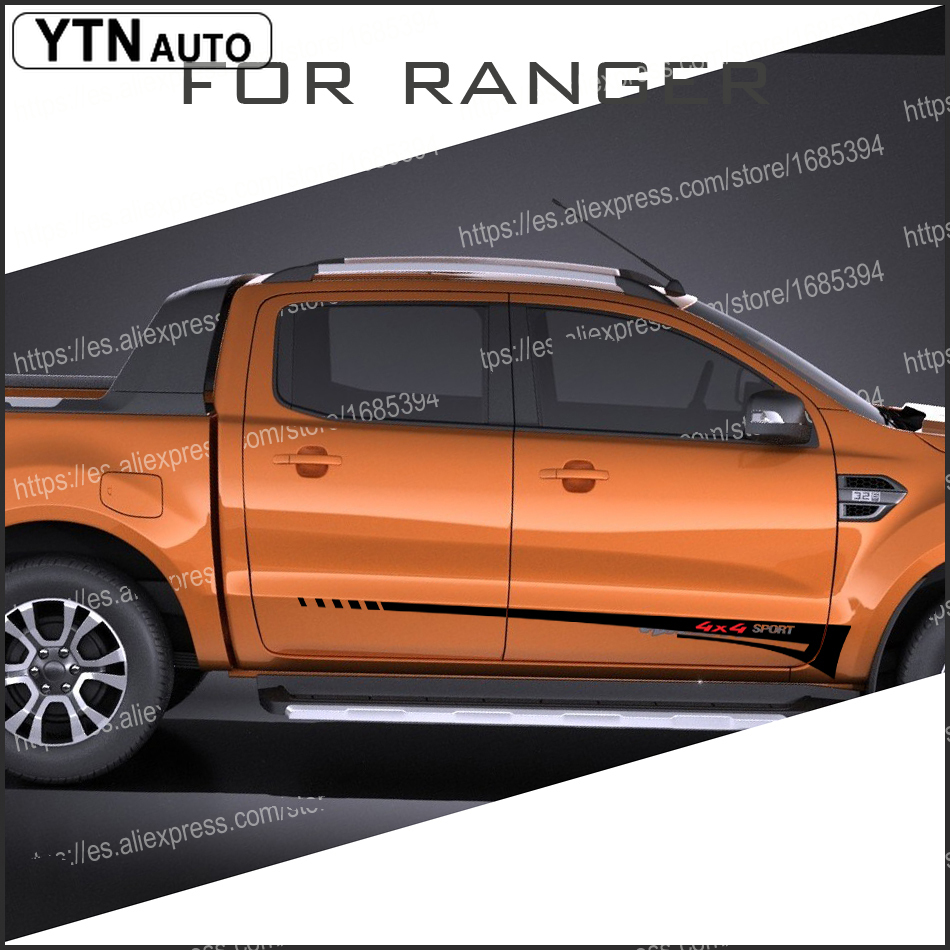 custom for Ford rangers stickers 2PC 4X4 sport car side door stripe graphic Vinyls modified scratch accessories stickers in Car Stickers from Automobiles Motorcycles