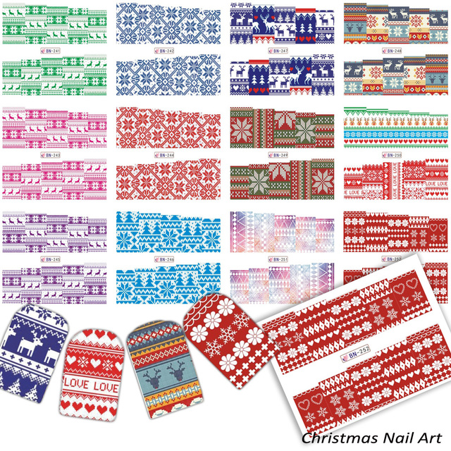 12 designs merry christmas tree decorations nail art stickers diy decals water transfer printing knitting manicure