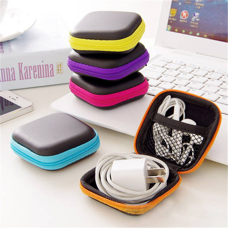 BalleenShiny Mini Square Headphone Wire Case Container Zipper Data Cable SD Card Storage Bag Holder Portable Earbuds Organizer in Storage Boxes Bins from Home Garden