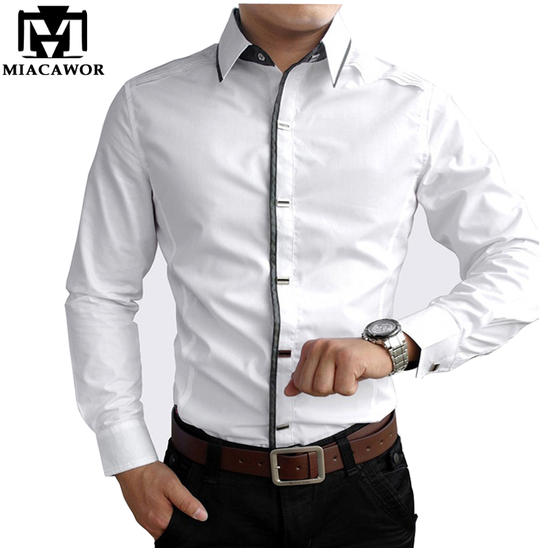 MIACAWOR Top Quality Shirt Men 100% Cotton Dress Shirts Spring Long Sleeve Casual Shirt Men Wedding White Shirts Men C013