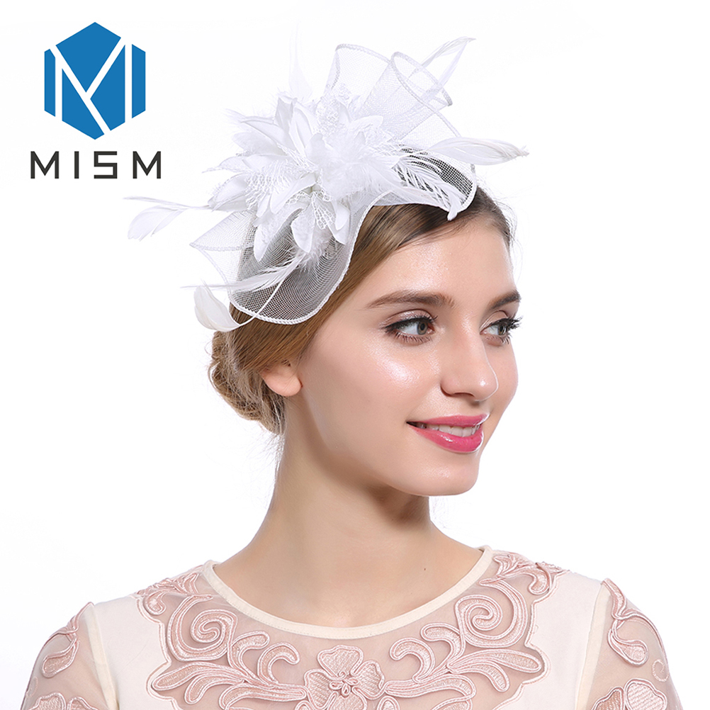 M MISM Women Elegant Fascinator Hair Clips Hollow Flower Feather Beads Hair Bands Yarn Cocktail Party Wedding Hair Accessories