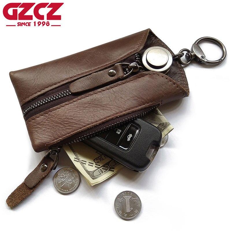 GZCZ Véritable En Cuir Hommes Portefeuille Zipper Conception Gouvernante Key Poche Anneau Wrap Titulaire Keychain Vintage Style Mini Walet Bourse