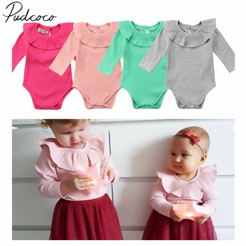 2019 Baby Spring Autumn Clothing Newborn Toddler Baby Girl Kids Long Sleeve Jumpsuit Bodysuit Ribbed Outfits Solid Clothes
