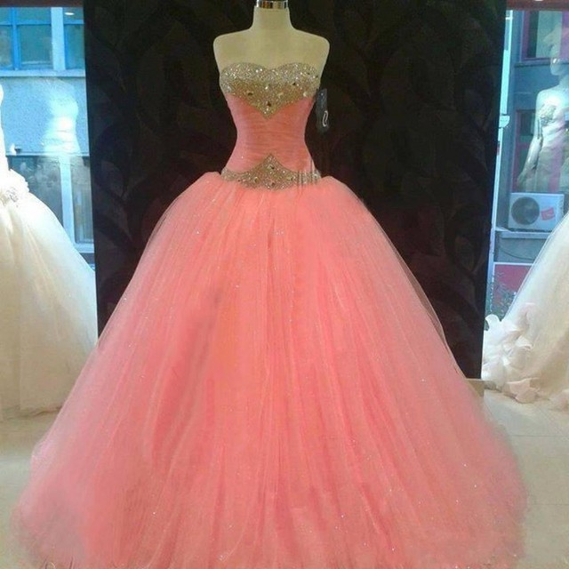Sweet 16 Year Pink Quinceanera Dresses Princess Beaded Ball Gown ...