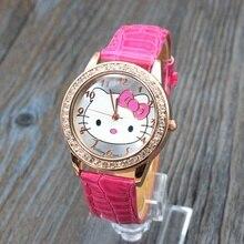 Лидер продаж Прекрасный hello kitty часы детская одежда для девочек Женщины Кристалл платье кварцевые наручные часы Relojes Mujer kt021