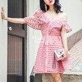[New venda] 2017 primavera rendas recorte de sp one piece-dress sexy oblíqua irritar cintura alta dress