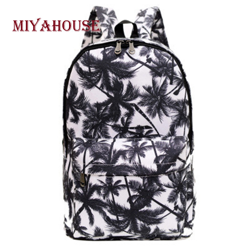 Miyahouse Women Backpacks Leaves Printing Backpack For Teenage Girls School Bags Fashion Female Canvas Travel Rucksacks twin set футболка с кружевом twin set j2a4fb 1014 кремовый m