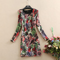 Women winter dresses casual print vintage long sleeve o-neck mini dress short thick vestidos