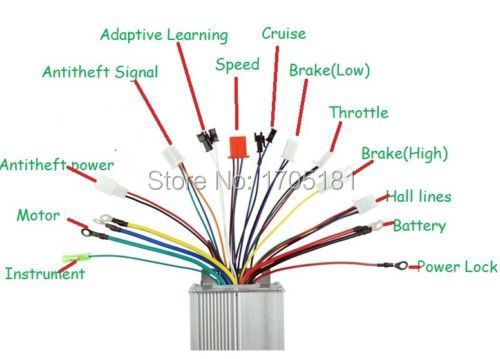 48V 1200W Electric Scooter Motor Brushless Controller Bike Vehicle ...