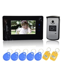 (1 set) HD 600TVL Wire one to one Video Door Phone Night version Camera CMOS Lens 7 inch TFT LCD color screen RFID card unlock