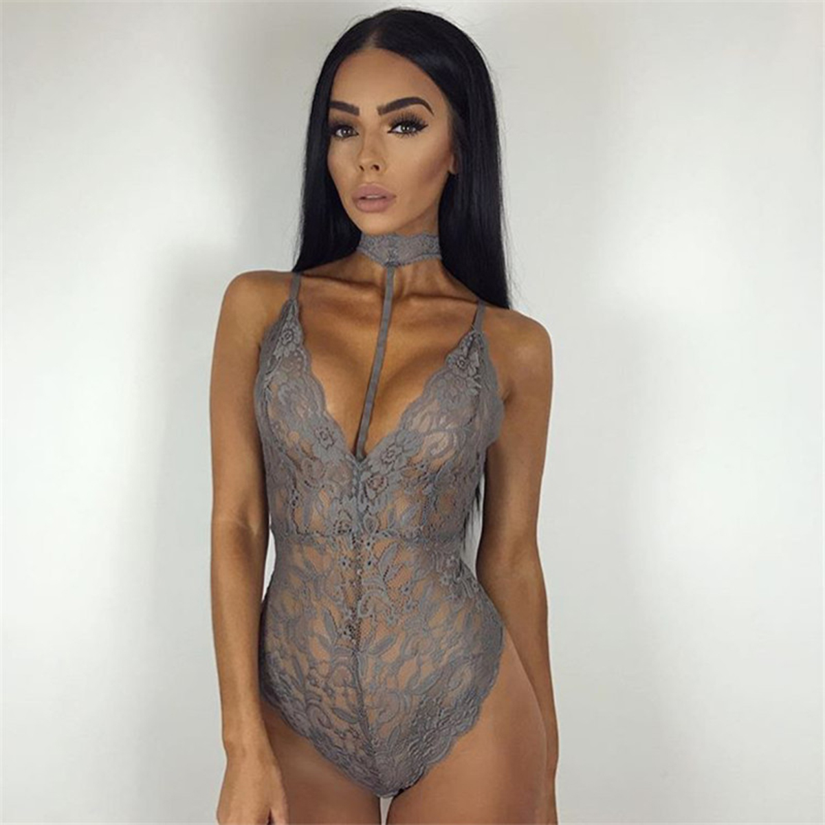 Sexy Lingerie Lace Teddies Deep V Neck Halter Women Bodysuits Sexy Teddy Sleepwear Erotic Lingerie Lace Romper Jumpsuit(China)