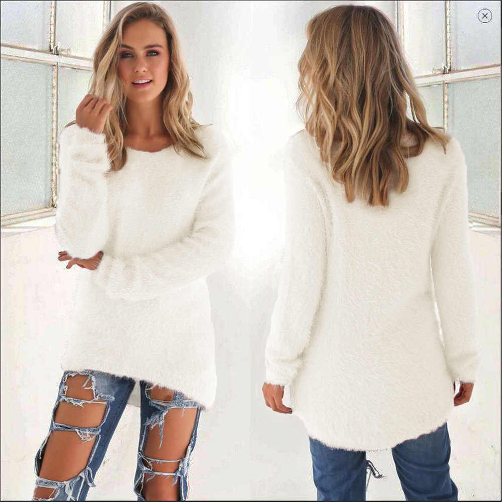 ... Plus Size Solid Christmas Sweater Long Sleeve Round Neck Warm Winter  Clothes Women Casual Jumper Pullovers ... 7f469a9ad710