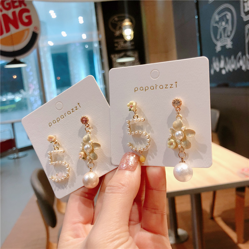 Korea Handmade Number 5 Flower Asymmetry Pearl Women Drop Earrings Dangle Fashion Jewelry Accessories-QQD5