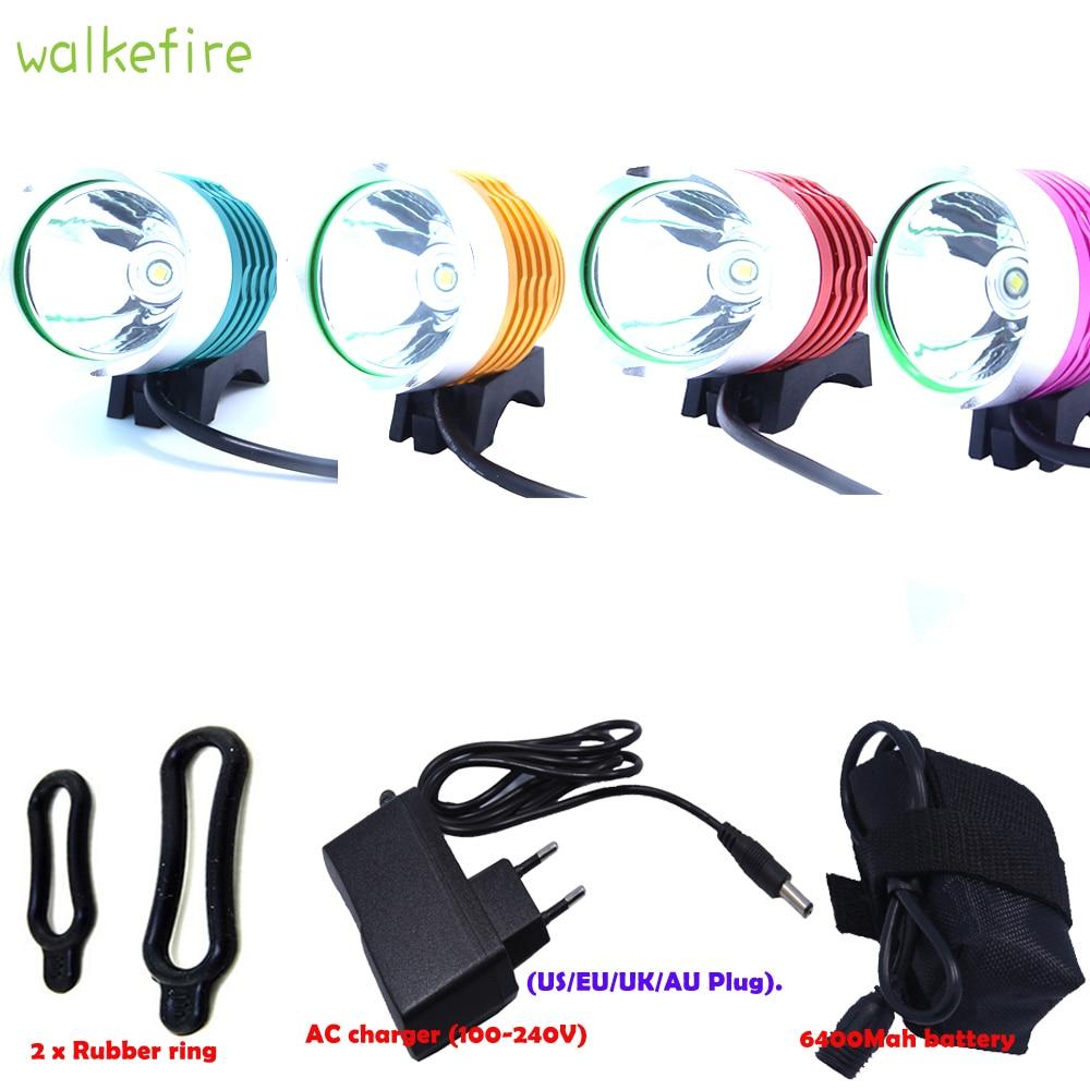 Walkfire 1800 Lumen XML T6 LED განათების შუქნიშანი წყალგაუმტარი 3 რეჟიმი LED ველოსიპედის განათება + 18650 ბატარეის პაკეტი 4 ფერი