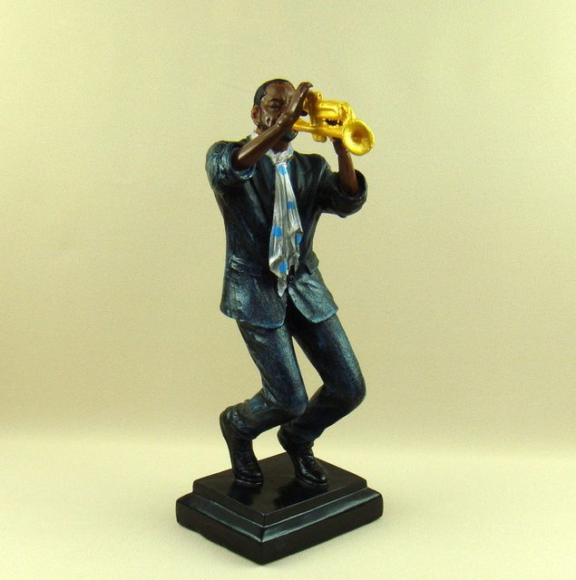 Online Shop Lifelike Trumpet Player Statue Handmade Polyresin Jazz ...