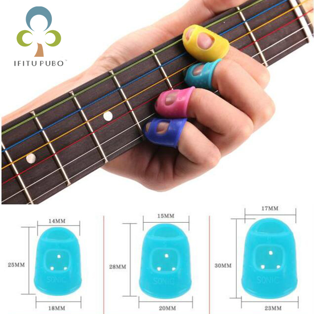 4pcs Fingertip Protector Fingerstall Silicone Guit...