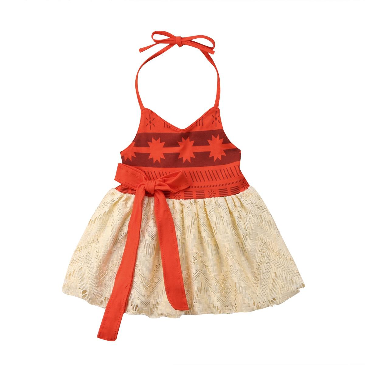 Princess Newborn Toddler Kids Baby Girl Moana Dress Summer Sleeveless Backless Strap Tutu Bow Beach Dress Sundress Baby Clothing