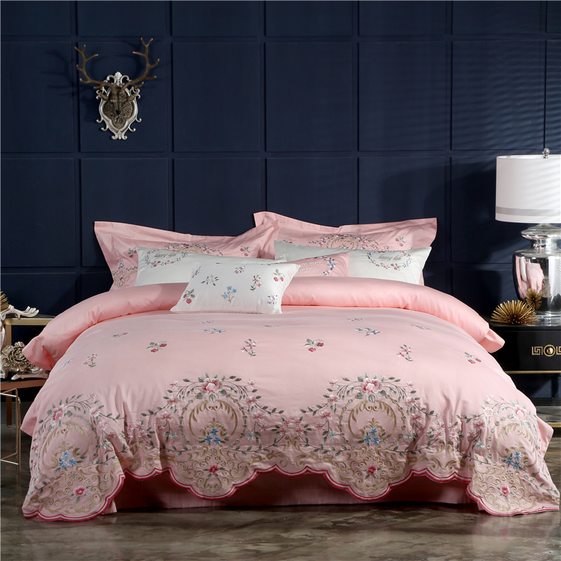 US $127.6 42% OFF|Luxury Pink Princess Royal Egyptian Cotton Bedding Set  Queen King size Embroidery Duvet cover Bed sheet/linen set Pillowcases-in  ...