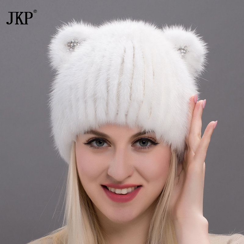 JKP  New Mink Cat Ear Cap For Women And Girls, Warm And Lovely, Attractive Popular Hat Without Fox Fur, Vertical Weavi  DHY17-24