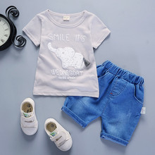 Kids clothes units summer time child boys clothes units elephant print boys t-shirts+shorts pants 2PCS boys sports activities fits for 1-Four years