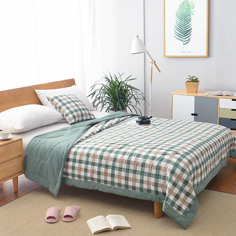 Summer Washed Cotton Air-conditioning Quilt Soft Breathable Blanket Thin Stripe Plaid Comforter Bed Cover