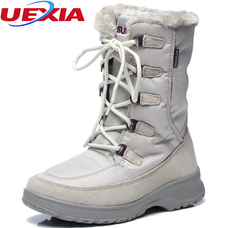 UEXIA Warm Solid Anti-Slip Snow Boots Women Shoes Female Fur Plush Winter Boot Round Toe Footwear Thermal Botas Mujer Plataforma karinluna women half knee snow boots rubber sole round toe platform warm fur shoes winter ladies footwear bootas mujer