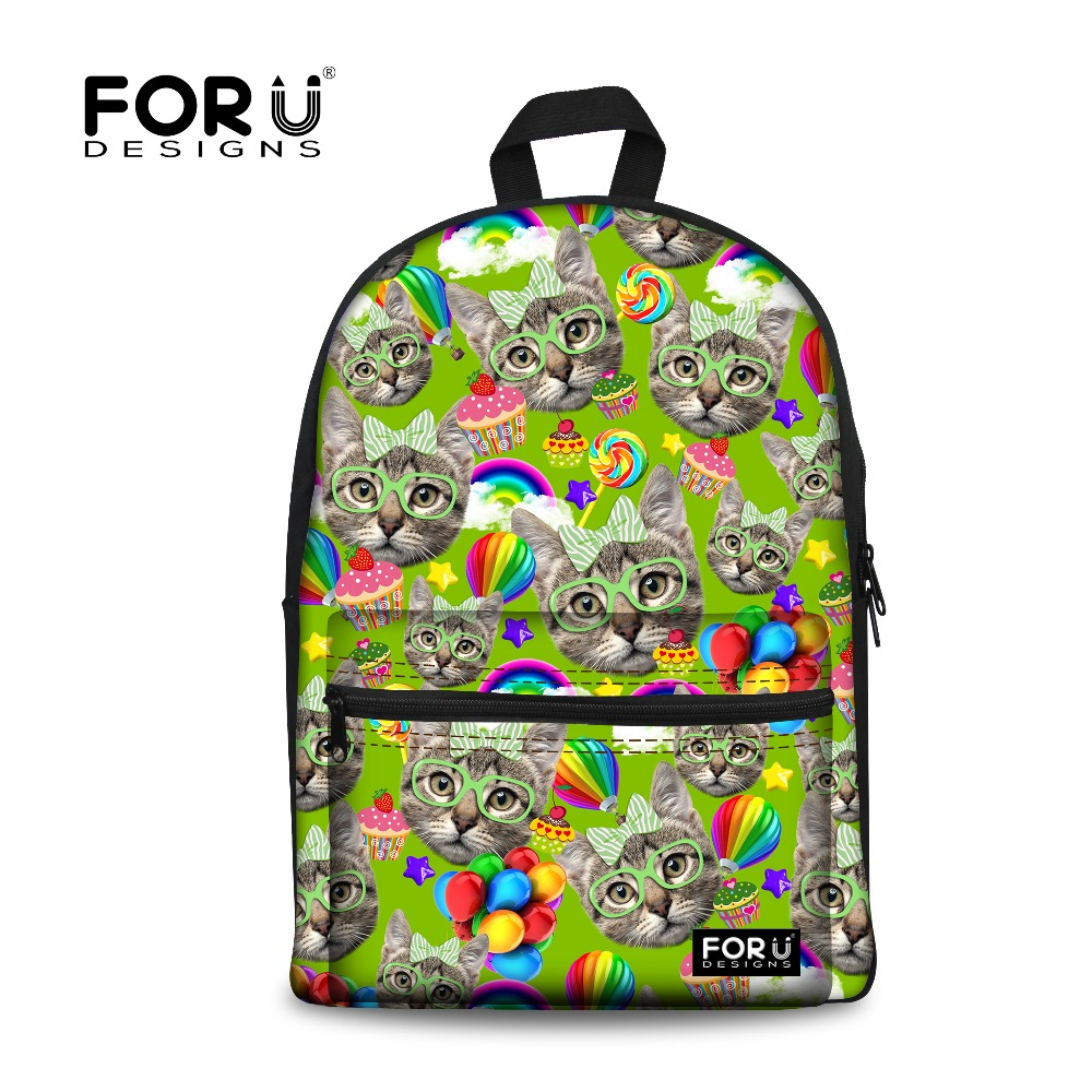 0ce7ab380e15 purple cute kitty cat women canvas backpack for teenage girls animal school  backpacks for student casual laptop black cat bags-in School Bags from  Luggage ...