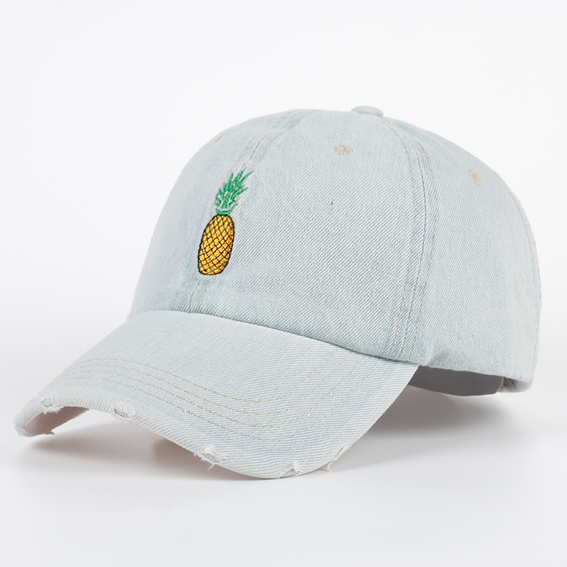 Pineapple Embroidery Distressed Denim Dad Hat   Baseball     Cap   Snapback Curved Bill PINEAPPLE Emoji Hat Unconstructed   cap   gorras hat