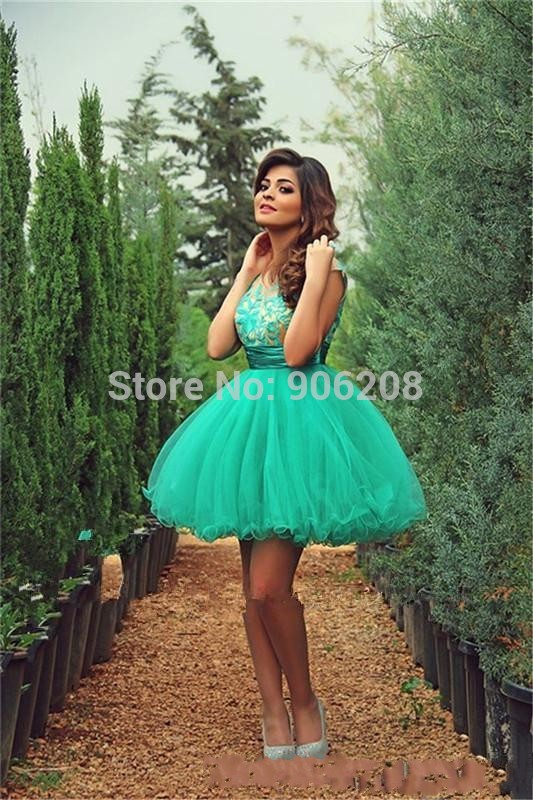 2015 A Line Short Green   Prom     Dresses   O-neck Tulle With Pleats Short Sleeves Evening Gowns Party   dresses