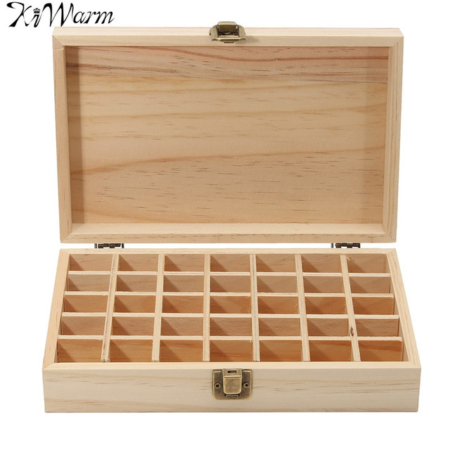 Kiwarm Modern 35 Holes Essential Oil Wooden Box Aromatherapy Oils