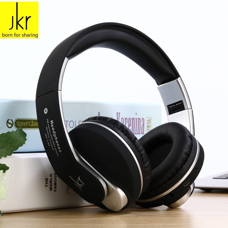 JKR 218B Wireless Bluetooth Headset Headphone Earphone with Mic Support TF Music FM for Mobile Phone PC Laptop Fone de ouvido sport wireless earphone headphone earphones headphones headset music mp3 player tf card fm radio fone de ouvido l3fe