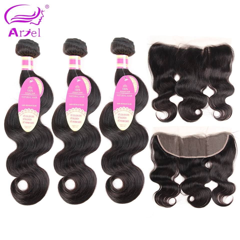 Ariel 3 Bundles Brazilian Body Wave With Frontal Natural Color Non remy Free Part Frontals With