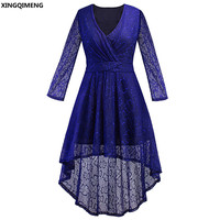 In Stock Cheap Simple High Low Cocktail Dress Lace Long Sleeve Elegant Royal Blue Formal Dress