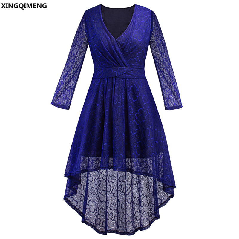 In Stock Cheap Simple High Low Cocktail Dress Lace Long Sleeve