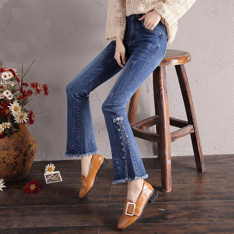 Sweet Plus Size Women Jeans Bowknot Elegant Rough Selvedge Flare Pants Retro Cute Slim Elegant Female Trousers Fashion MK0072 side bowknot embellished plus size sweatshirts