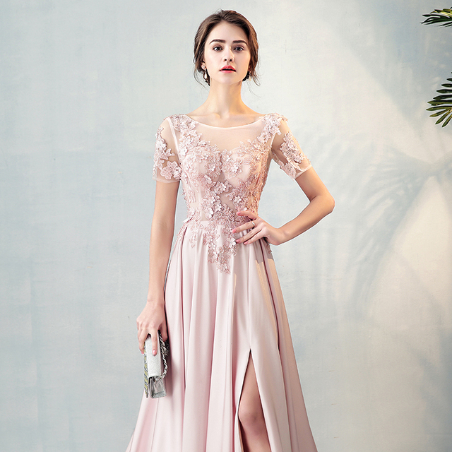 eb6abab76114 Blush Pink Sheer Neck Beading Lace Vestidos De Festa Backless Side Split  Flower A-line Formal Evening Dresses Prom Party Gowns