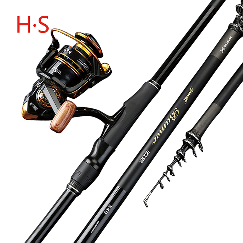 Carbon telescopic fishing rod 3.6M-7.2M ultra-hard long section of the sea dual-use long-distance cast sea rod Free shipping