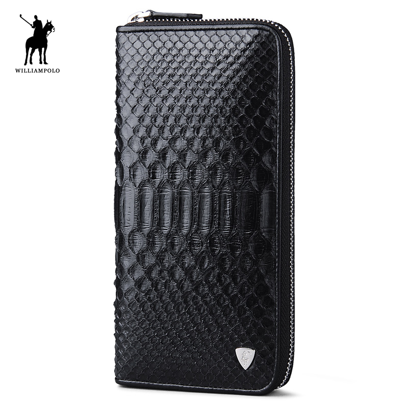 WILLIAMPOLO 2018 Famous Luxury Brand Real Natural Python Skin Designer Clutch Wallet Male Purse POLO135