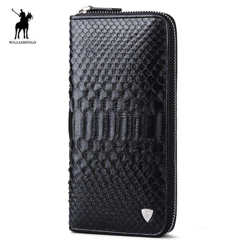 WILLIAMPOLO célèbre marque de luxe véritable peau de Python naturel portefeuille d'embrayage homme sac à main PL135